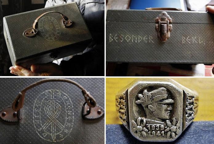 hnědý kufr s emblémem tajné společnosti Ahnenerbe